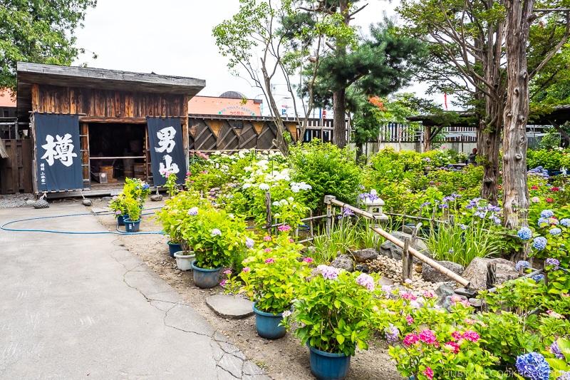 the garden at Otokoyama Sake Brewery Museum in Asahikawa