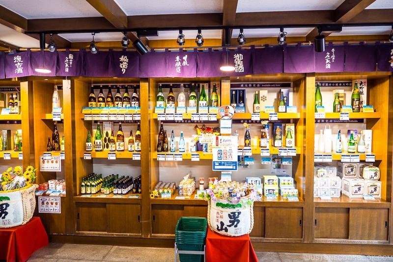 sake bottles for sale on shelves