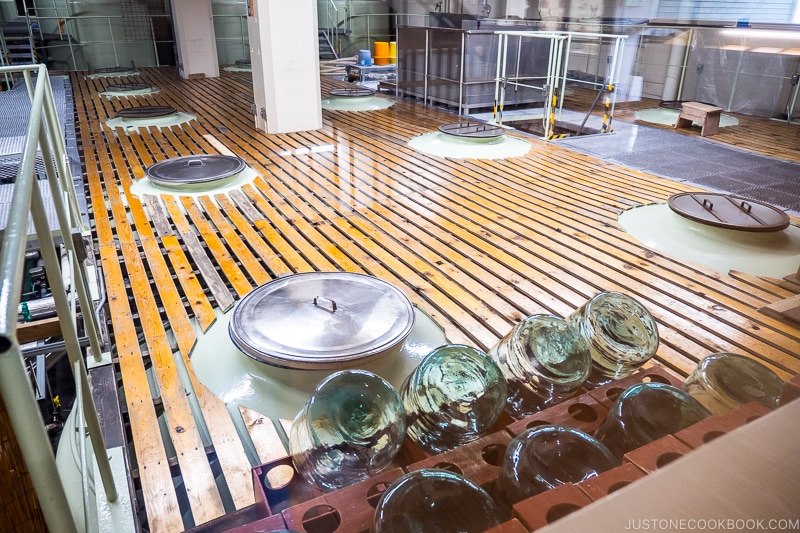 wood planks on top of sake vats