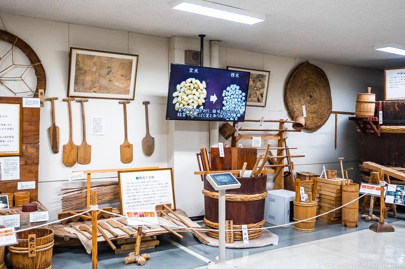 historical sake making tools on display