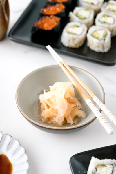 A ceramic bowl containing freshly made Pickled Sushi Ginger (Gari).