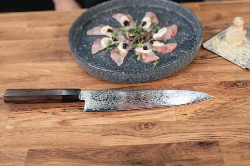 all purpose Kikuichi Nickel Warikomi Damascus Santoku knife