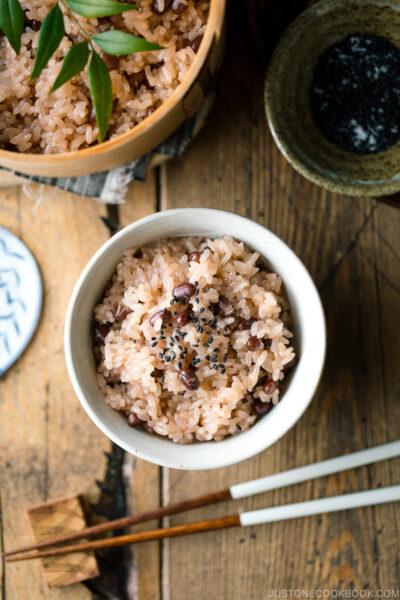 A rice bowl containing Sekihan (Red Bean Rice).