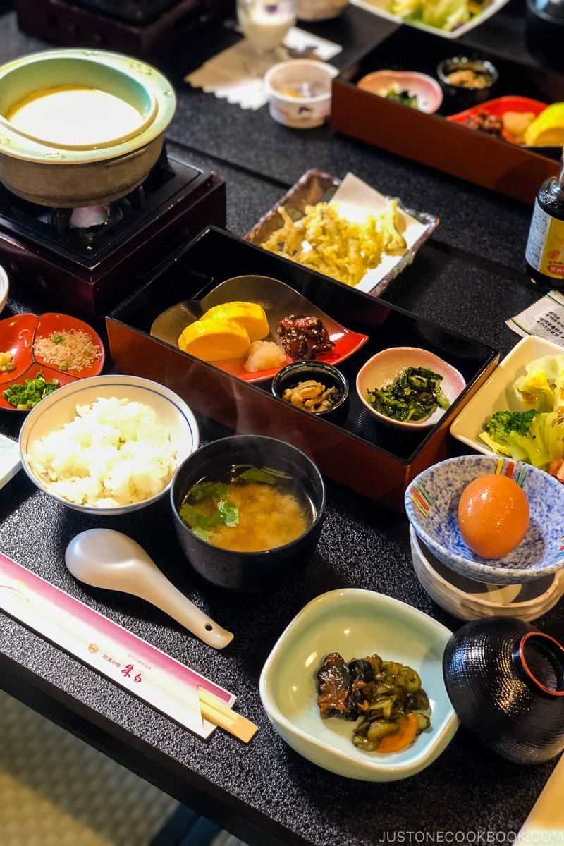 Japanese breakfast served on many small dishes