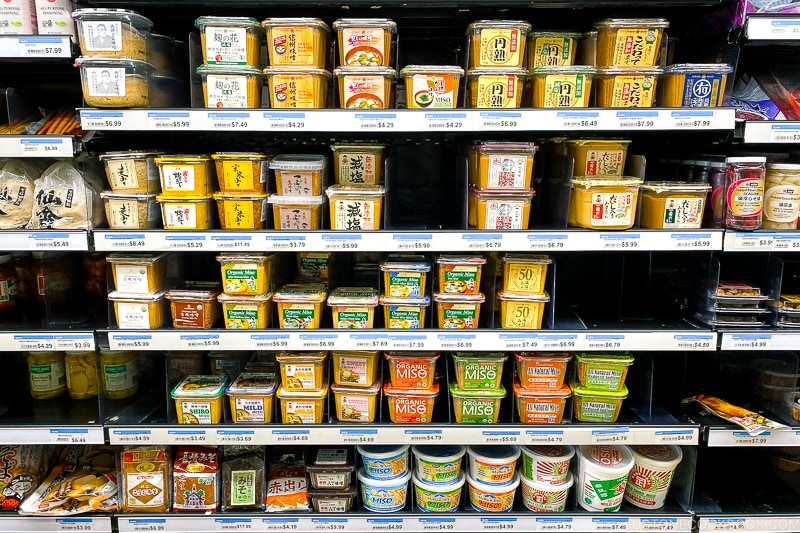 various types of miso in a store