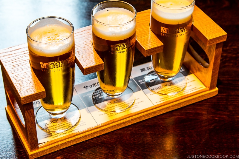 three types of Sapporo Beer