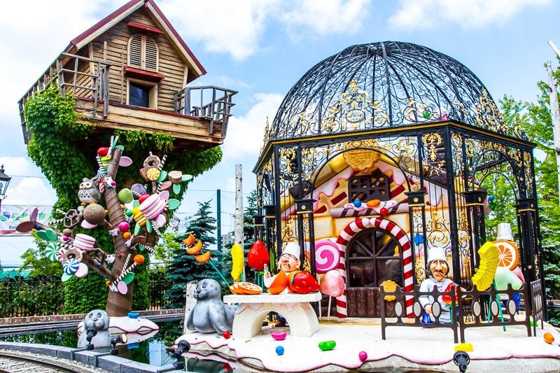 playful character sculptures at Ishiya Shiroikoibito Park