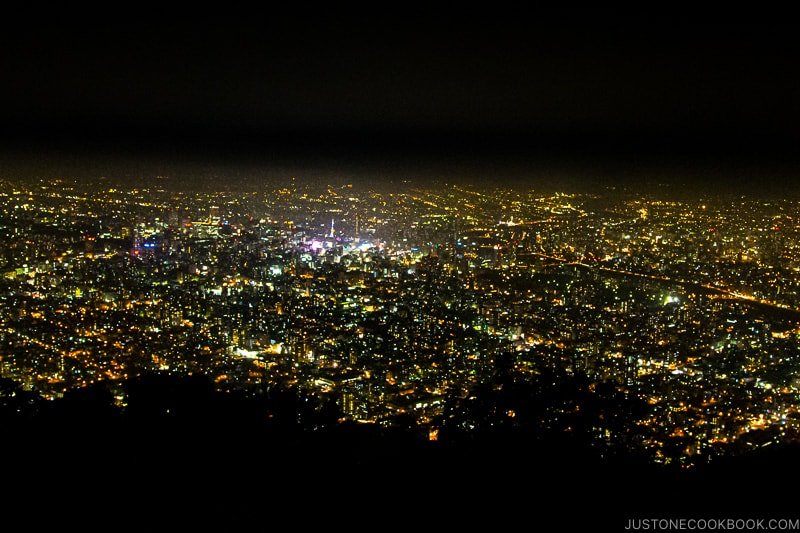 nighttime view Sapporo from Mount Moiwa Observation Deck