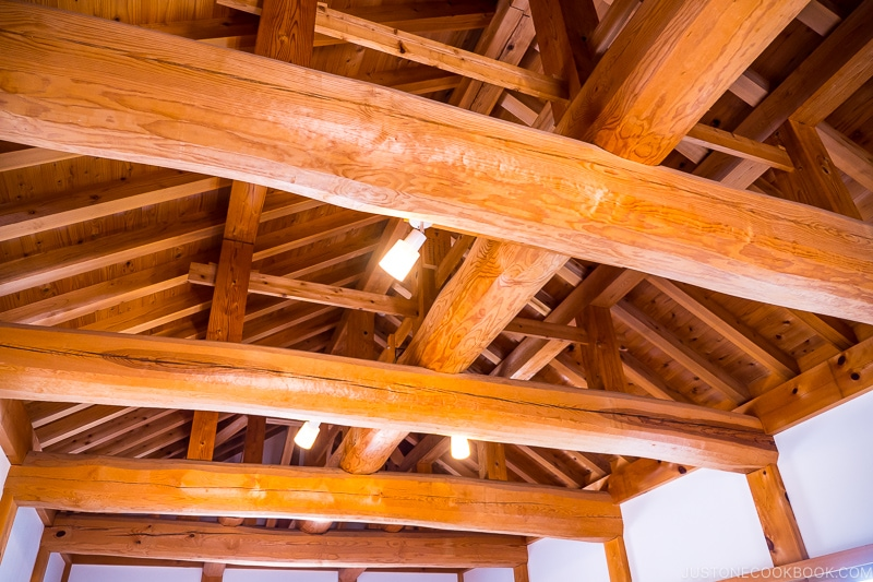 large wood beam and wood roof