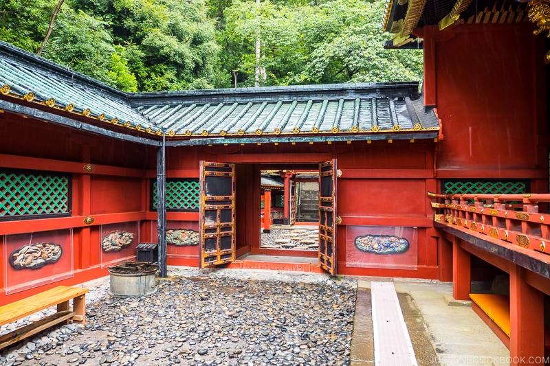 stone walkway next to the shrine