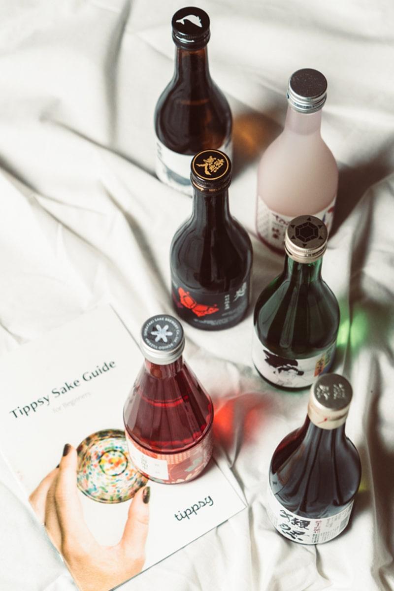 A selected of sake included in Tippsy Sake Box