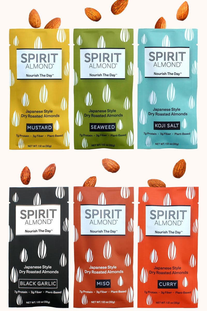 12 pack variety almond snack from SPIRIT Almond, featuring flavors such as koji salt, seaweed, japanese curry, miso, and black garlic